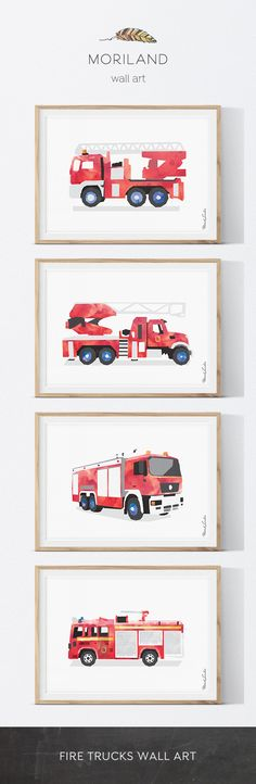 Fire Truck Wall Art, Fire Truck Printable, Fire Engine Print, Transportation Art, Little Boy's Room Decor, Rescue Vehicle Print #firetruck #wallart #print #printable #fire #engine #kidsroom #bigboy #room #theme #transportation #vehicle #toddler #decor #bedroom #rescue