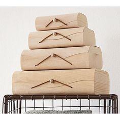 set of 4 birch storage boxes in storage | CB2