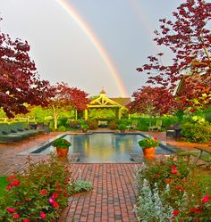 Caught a double rainbow over our pool, beautiful!