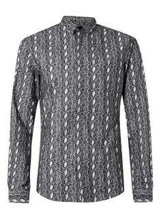 230a18cf62b342 £40 - Topman - NOOSE   MONKEY Black and White Snake Skin Print Shirt Men s