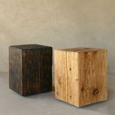 pine cube stool for our folded counter table and when not in use, we can use them as our end table!