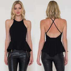 """Evolutionist"" Crossback Peplum Tank Top Crossback peplum black top. Pair with jeans or leather leggings for an incredibly sexy look. Brand new. Junior sizing. NO TRADES. Bare Anthology Tops Blouses"