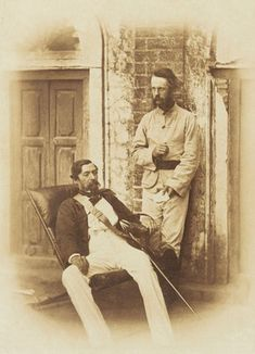 Rare Photos Of Indian Mutiny / Sepoy Mutiny / Indian Rebellion / Uprising Of 1857 - MERE PIX Major-General Sir Robert Napier (1810-1890) (seated) confers with his ADC, Major E.H. Greathead. During the Indian Mutiny (1857-1859) both men served with Sir Henry Havelock and Sir James Outram