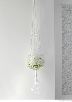 the red thread macrame hanging vase tutorial {{put a fish in there with a plant