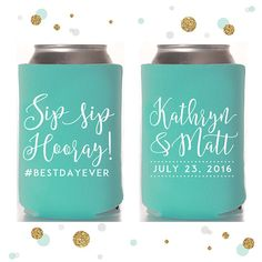 Sip Sip Hooray Wedding Can Cooler 50 by SycamoreStudiosCo