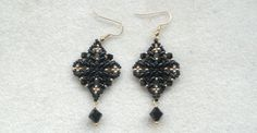 Beading4perfectionists : Classy Diamond shaped black superduo earrings b...