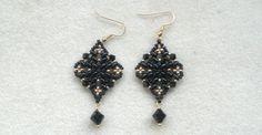 Beading4perfectionists : Classy Diamond shaped black superduo earrings b...