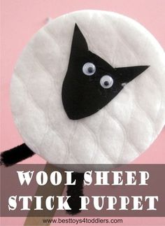 Wool Sheep Stick Puppet, diy toy for kids to make! Sheep Crafts, Farm Crafts, Church Crafts, Camping Crafts, Farm Animals Preschool, Toddler Preschool, Preschool Crafts, Toddler Activities, Sunday School Activities