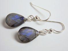 LABRADORITE GEM STONE FACETED PEAR STERLING SILVER EARRINGS blue violet flash #singlegem
