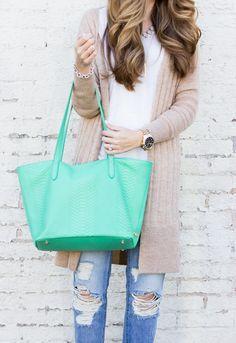 GiGi New York | Island Green Teddie Tote | The Teacher Diva Fashion Blog