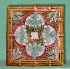 Majolica Leaf and Bamboo Tile Manufacture De Sevres, Art Nouveau, Art Deco, Antique Tiles, Some Image, Fireplace Surrounds, Victorian Era, Decoration, Calais France