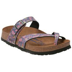 Purple Birkenstock Women's Papillo Tabora Paisley Flat Sandal shoes
