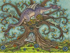 A whimsical knarly tree with a cute story book style purple dragon. Created by Susan Brack. Dragon Tree, Dragon Egg, Fantasy Dragon, Fantasy Art, Dragon Family, Dragon Artwork, Cute Dragons, Cute Stories, Artist Portfolio