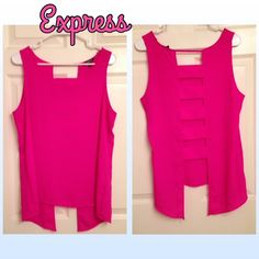 """TEMPORARY PRICE DROP Hot Pink Express Trapeze Top Hot Pink Express Trapeze Top w back cut outs. In excellent condition. Front: 26"""" Back: 28"""" Express Tops Tank Tops"""