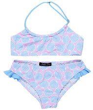 Seashells in Light Blue on Pink Bikini for Girls