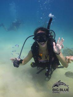 Big Blue diving. Scuba diving is easy breathy.