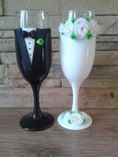Rózsa  esküvői pohár pár, Esküvő, Nászajándék, Esküvői dekoráció, Gyurma, Meska