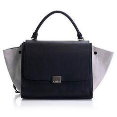 5f5c543d6590 Newest 2012 Celine Trapeze Bags Original Leather 3342 Black Camel Linen  Celine Wallet
