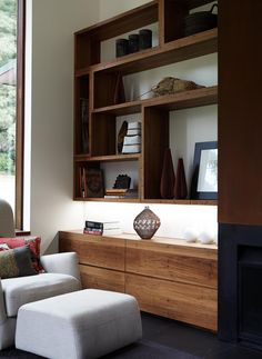Ideas for the front room, wall length storage beneath the tv and extra shelving Tv Shelving, Built In Shelves, Built In Tv Cabinet, Walnut Shelves, White Shelves, Book Shelves, Built Ins, Floating Shelves, Shelf
