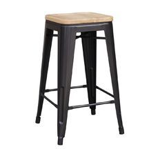 OSP Designs Bristow Antique Metal Barstool with Vintage Wood Seat, Black Finish Frame & Pine Alice Finish Seat, 2 Pack Metal Stool, Metal Bar Stools, Restaurant Bar Stools, Industrial Metal, Industrial Revolution, Steel Frame, Space Saving, Charcoal, Home And Garden