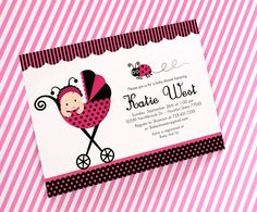 DIY PRINTABLE Invitation Card  Pink Lady Bug Baby by venspaperie, $12.00