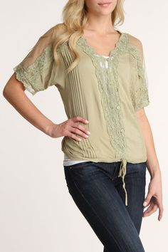 Simply Irresistible Dina Crochet Lace Button Blouse In Sage - Beyond the Rack