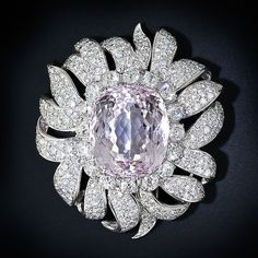 Large Kunzite and Diamond Clip Brooch, Circa 1950s - 50-91-15 - Lang Antiques
