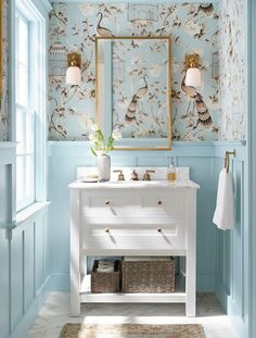 bathroom wallpaper Powder room makeover to tie the design to the sophisticated style of the rest of my home. Inspiration and renovation plan Week 1 Fall One Room Challenge. Bad Inspiration, Bathroom Inspiration, Bathroom Ideas, Bathroom Small, Bathroom Colors, Bathroom Pink, Mirror Bathroom, Blue Bathrooms, Bathroom Lighting