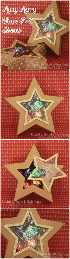 Stampin' Up! Many Merry Stars Kit Boxes - Detailed instructions how to create brad-hinge opening in link | Created by Rachel Legge http://rachelleggestampinup.wordpress.com/2014/12/31/many-merry-stars-alternative-star-box-with-brad-hinge-opening/