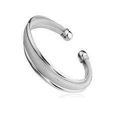 Sterling silver bangle with wave like design and mesh interior. Silver Bangles, Silver Cuff, Sterling Silver, Wave, Mesh, Classic, Bracelets, Interior, Jewelry
