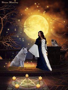 Sorcière et loup blanc
