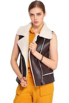 ROMWE | ROMWE Brown Lapel Sleeveless Jacket, The Latest Street Fashion