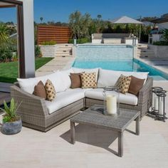RST Brands Cannes 4-Piece Patio Corner Sectional Set with Moroccan Cream Cushions-OP-PESS4-CNS-MOR-K - The Home Depot