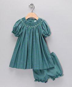 Petit Pomme Teal Smocked Bishop Dress - Infant & Toddler