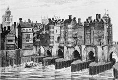 Left: Southwark end showing heads over Traitor's gate. London past and Present, p. 23.
