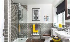 Black and yellow bathroom decor stylish gray grey bathrooms yell . trendy and refreshing gray yellow bathrooms Home, Yellow Bathrooms, Shower Room, Bathroom Interior, Bathroom Decor, Bathrooms Remodel, Beautiful Bathrooms, Grey Bathrooms, Bathroom Design