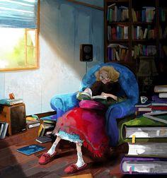O cão que comeu o livro...: As jovens leitoras de Kim Ji-Hyuck / Kim Ji-Hyuck's young ladies reading