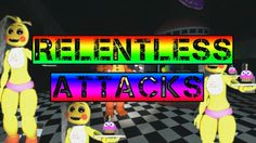 Toy chica with freddy in the middle of the words (u can see his stomach and hand)