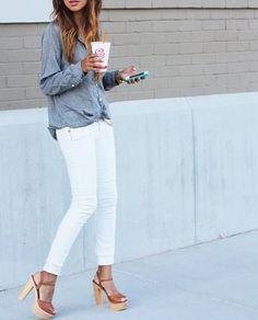 chambray + white denim + chunky heels