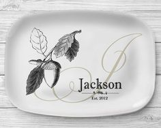 Melamine Acorn Platter, Personalized Fall Acorn Serving Platter, Monogrammed Melamine Platter, Personalized Serving Tray, Kitchen Decor by SimplySublimeGifts on Etsy https://www.etsy.com/listing/222018127/melamine-acorn-platter-personalized-fall