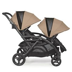 The Contours Options Elite Tandem Stroller features reversible stadium seating and offers up to 7 seating configurations for two children and 2 infant car seats. New design now comes with dynamic front and rear wheel suspension.