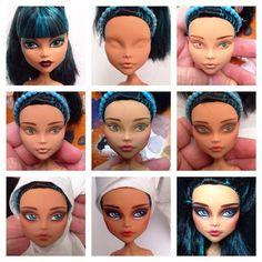 Cleo de Nile Monster High custom doll by Erregiro Doll Repaint Tutorial, Doll Tutorial, Doll Face Paint, Doll Painting, Monster High Repaint, Monster High Dolls, Doll Crafts, Diy Doll, Doll Makeup