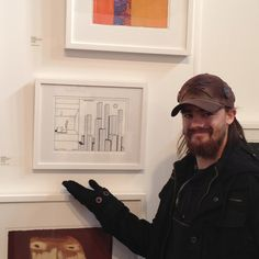 Artist Gavin Porter with his artwork 'Observing the city' at the 2012 Melbourne Art Fair.