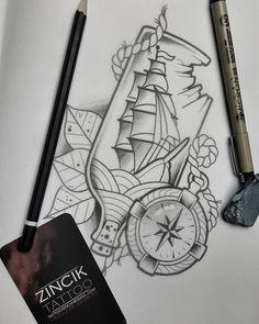 Martin Tattooer Zincik - czech tattoo artist , Tetování na předloktí, Neo traditional tattoo Ship compass design sketch , Praha / Brno