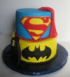 Superman and Batman Cake...love the fondant capes!