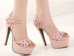 2014 summer new sexy thin high heel ankle strap platform women sandals solid cut-outs leather party shoes with buckle plus size