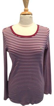 Lacoste Striped T Shirt Pink, Burgundy, Blue