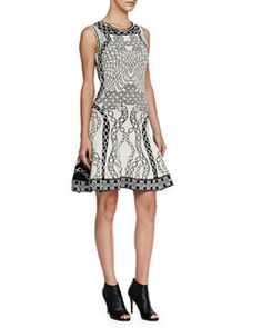 T8QWY Diane von Furstenberg Sleeveless Printed Fit-and-Flare Dress