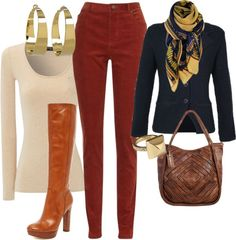 """Rust and Navy"" by sheryl-slack-bessinger on Polyvore"