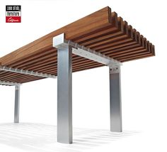 component: metal legs wood slat top - consider black steel legs to sync with structure